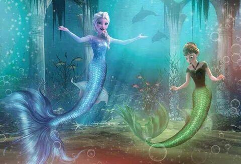 Elsa et anna en sirene