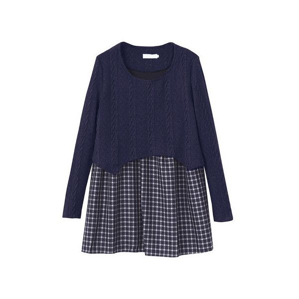 Loose Pregnant Women Plaid Patchwork Knit Fake Two-Piece Blouse (835 UAH) ❤ liked on Polyvore featuring tops, blouses, navy, women plus size tops, long sleeve blouse, blue blouse, plus size long sleeve blouse, plus size knit tops and plus size two piece