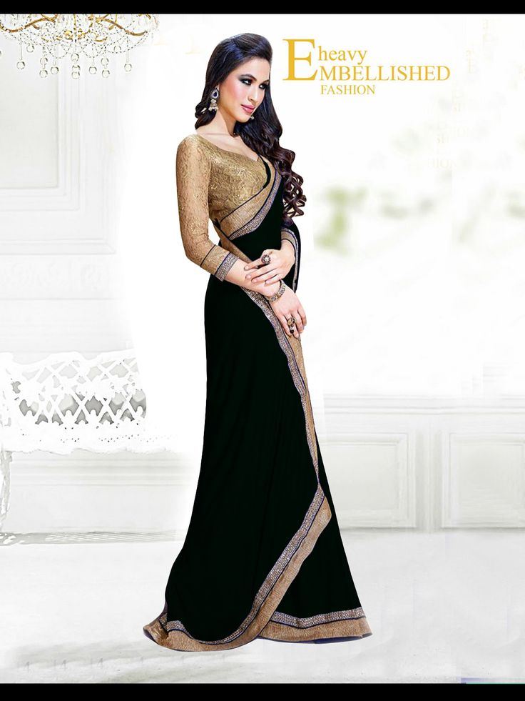 Fabric/Material:- #Saree : Dhupian|Blouse: #Chiffon | Pattern: #Printed Color: #Black Size : Saree: 5.50Mtr. | Blouse: .80Mtr. | Price: 615/- #SuratTex