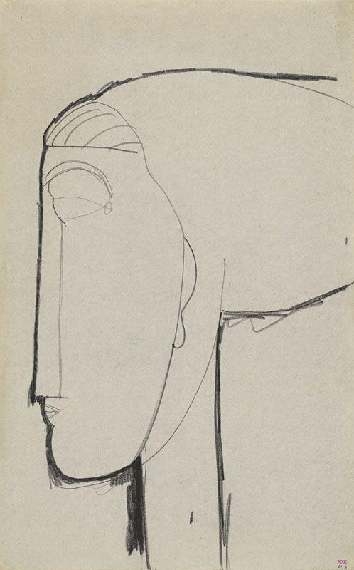 Modigliani - Head with Chignon     Black crayon,   42.7 x 26.4 cms