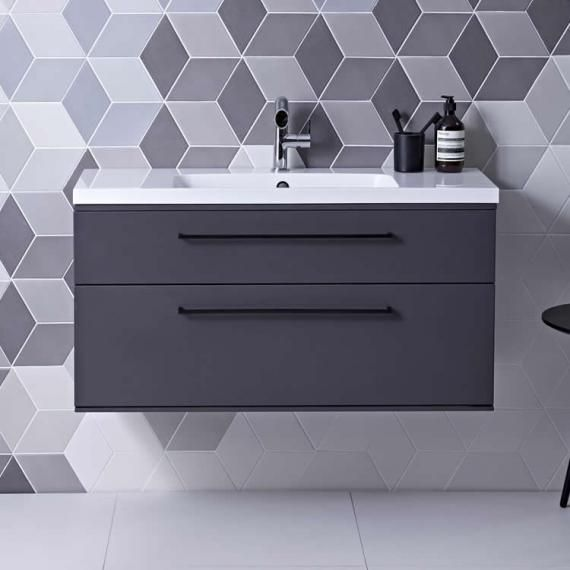 Roper Rhodes Scheme 1000mm Matt Carbon Wall Mounted Vanity Unit Basin Bathroom Sink Units Wall Mounted Vanity Vanity Units