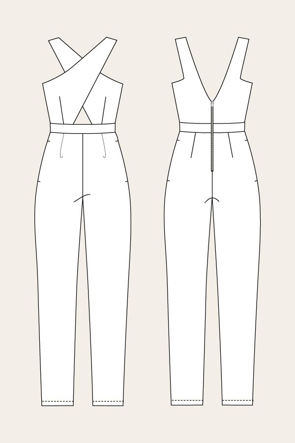 Line Drawing for the Ailakki Cross Front Jumpsuit by Named Patterns