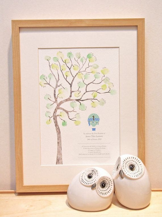 Boy birthday gift 1 year old fingerprint tree diy baby for Diy room decor for 8 year olds