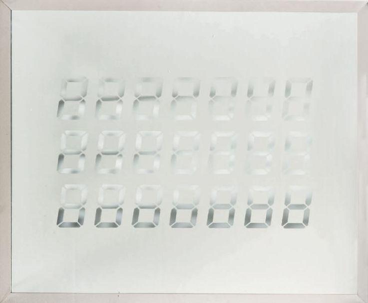 TATSUO MIYAJIMA (NÉ EN 1957)  Untitled, 8, 1995 Pièce unique. Miroir gravé. Signé et daté en haut à gauche. H_100,5 cm L_120 cm