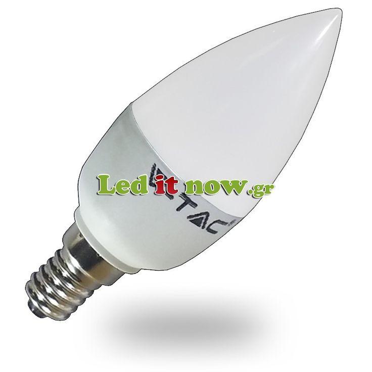 LED V-TAC Λάμπα E14 Κεράκι 6watt 470lm Θερμό Λευκό