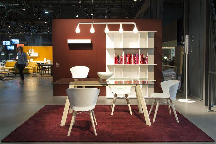 PAPER table  / BAHIA chairs / MEDLEY rug / DIVISON bookshelf / POM POM suspension light / BUMPER coat rack / BAHIA stool