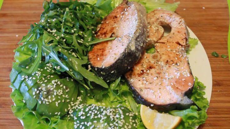 Roasted Pink Salmon Steaks & Vegetable Avocado Salad