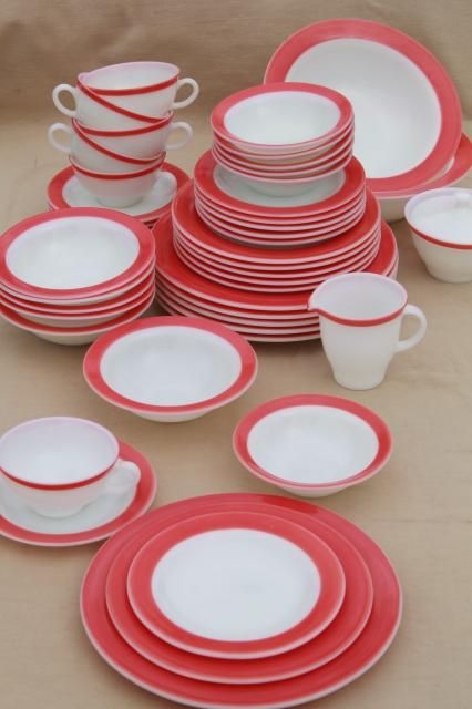 vintage Pyrex flamingo pink border milk glass dishes, retro red & white dinnerware set