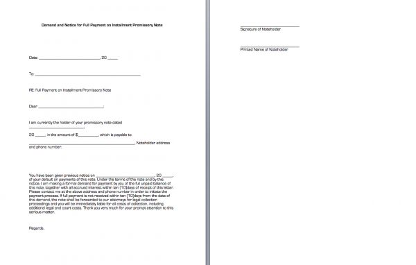 Demand and Notice for Full Payment on Installment Promissory Note - free promissory note
