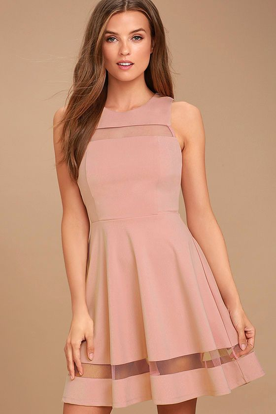 Lulus Exclusive! For the fashionista who's always striving for the next best thing, we recommend the Sheer Determination Mauve Mesh Skater Dress! Medium-weight knit is formed to a sleeveless, seamed bodice with rounded neckline, and a sheer mesh decolletage. Fitted waist leads into a skater skirt with more mesh. Hidden back zipper/clasp.