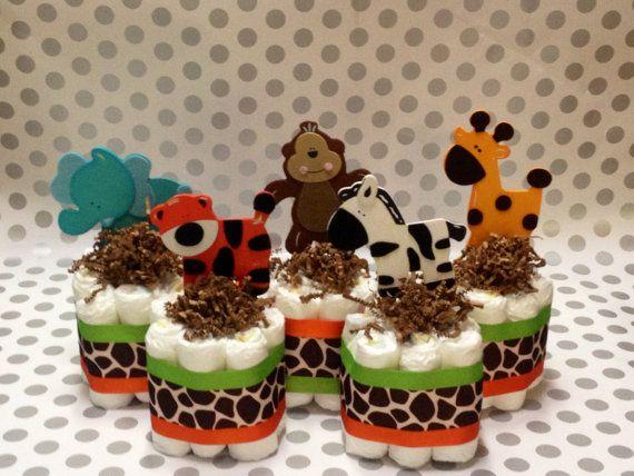 Safari Baby Shower Center Pieces Mini Safari Diaper by StorkandCo