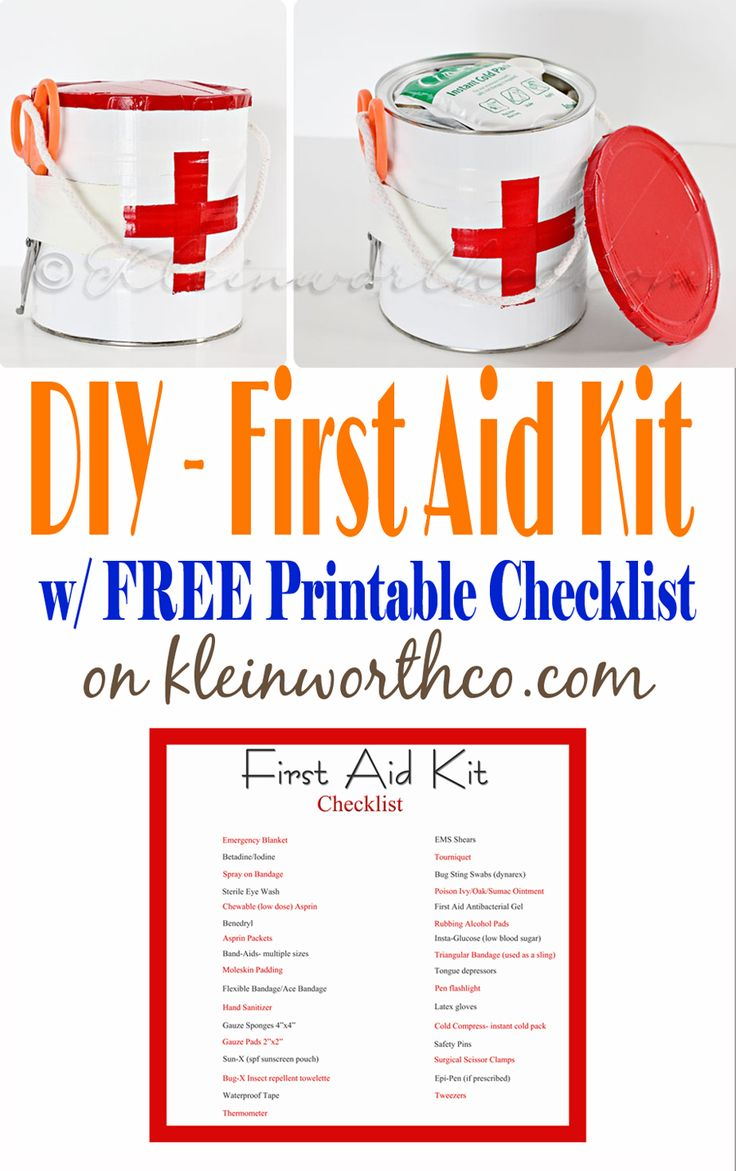 First Aid Kit and Printable Checklist - what a clever idea to use a coffee can AND she gives you a checklist of all the things you need to be prepared. This is the season for making one of these! on kleinworthco.com