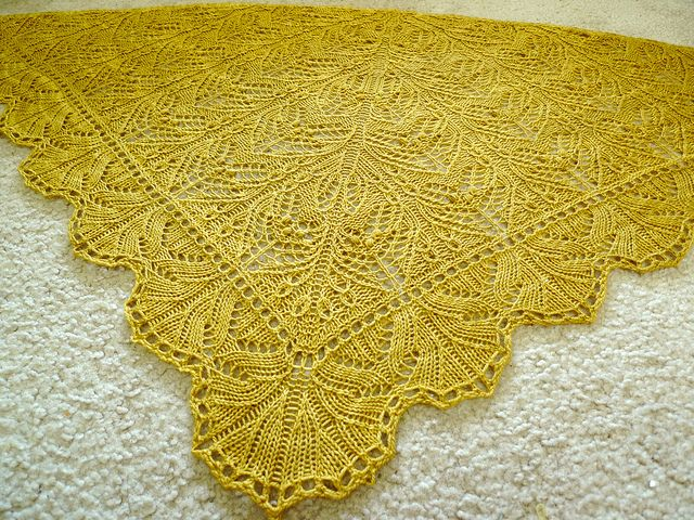 SEMISOLID yarn knit into a LACE shawl