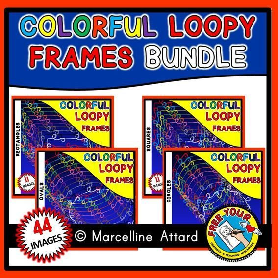 50% OFF TODAY ONLY! #COLORFUL #LOOPY #FRAMES: 44 BORDERS FOR ONLY $2 INSTEAD OF $4!  #SALE #BUNDLE  #CLIPART