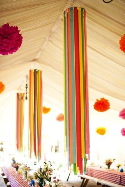 Crepe Paper streamers hung around hoops as chandelier-like hangings