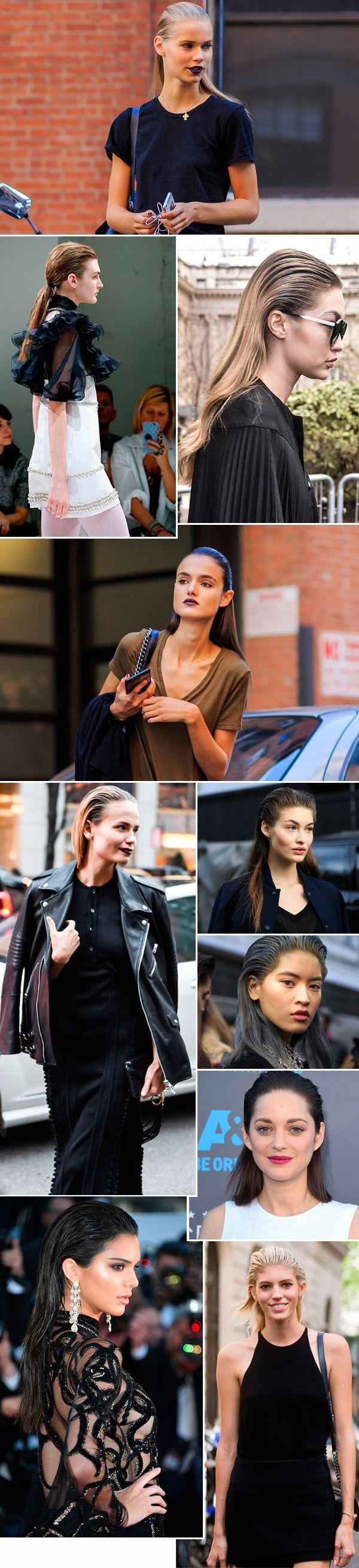 Street style look com cabelo molhado pra trás.