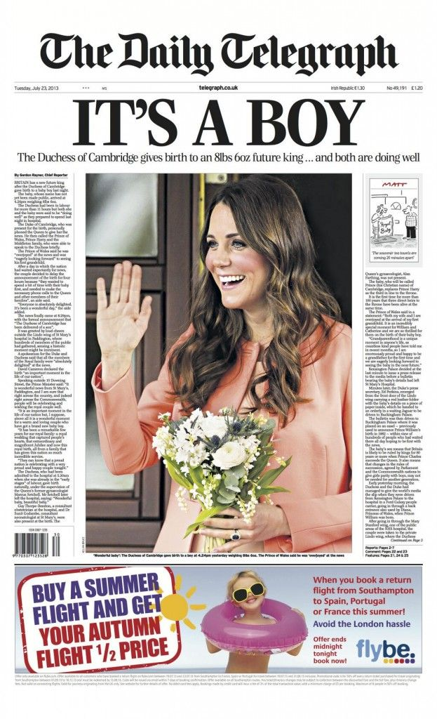 The Telegraph paper commemorating the birth of England's newest heir to the throne.
