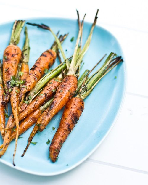 Grilled Carrots with Lime and Cilantro. What You Need 1 pound small carrots (or large carrots cut in half lengthwise) One lime A handful cilantro A few pinches of cumin Olive oil Kosher salt Fresh ground pepper
