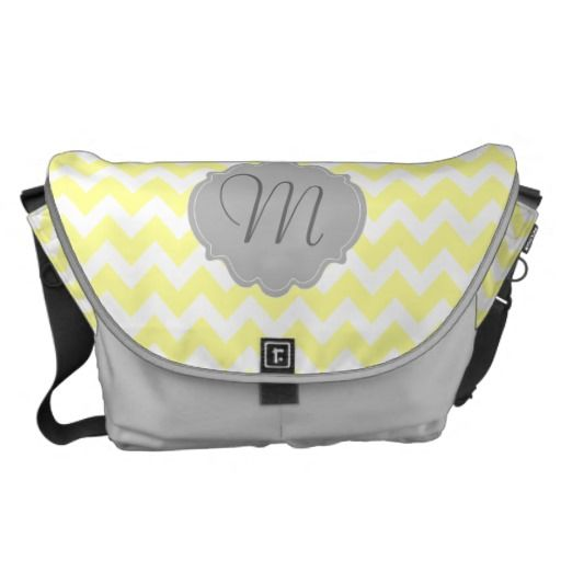 Yellow and Gray Chevron Monogram Personalized Bag Courier Bag
