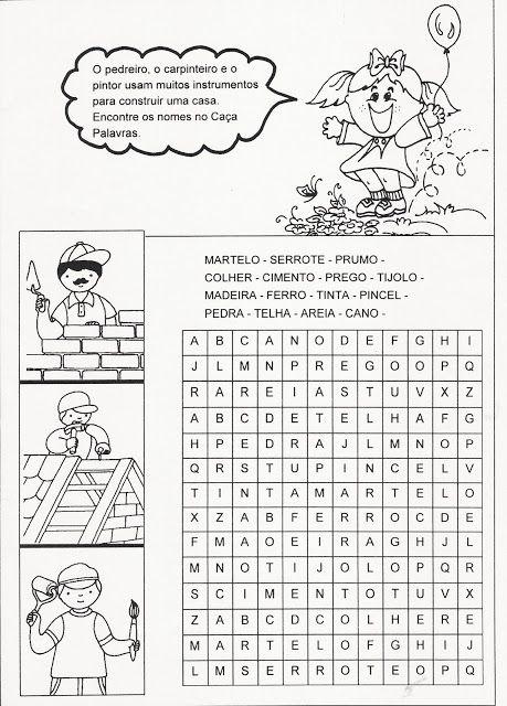 Rosearts- Atividades para imprimir: Caça palavras de objetos para construir casa