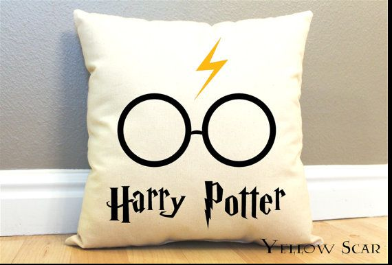 Harry Potter Pillow w/ Lightning Bolt and Glasses by AndersAttic, $25.00