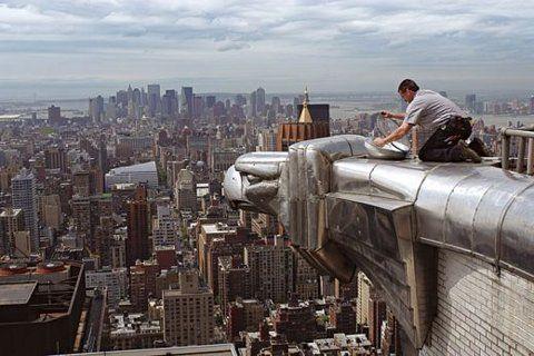 cleaning the eagle gargoyles... New York