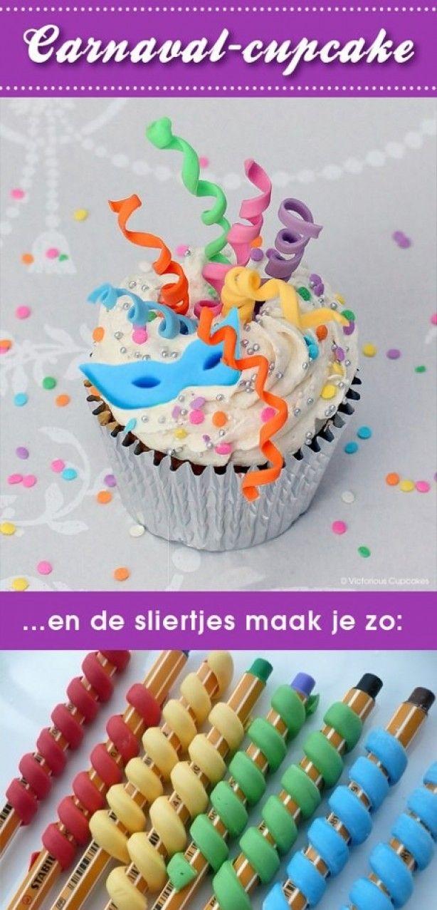 zo maak je een leuke carnavals cup cake. nier speciaal maar wel leuk!!