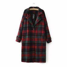 Осень-зима Шерстяное пальто женские классические смеси красный зеленый плед длинная куртка пальто женский плащ верхняя одежда ветровка тр...(China)