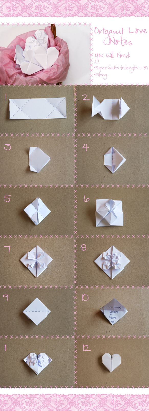 origami love notes paper play pinterest