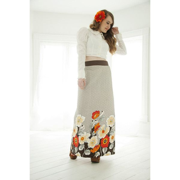 Vintage poppies maxi skirt, high waist, white brown floral boho red... ($64) ❤ liked on Polyvore featuring skirts, white skirt, brown maxi skirt, high waisted long skirts, bohemian maxi skirts and high waisted a line skirt