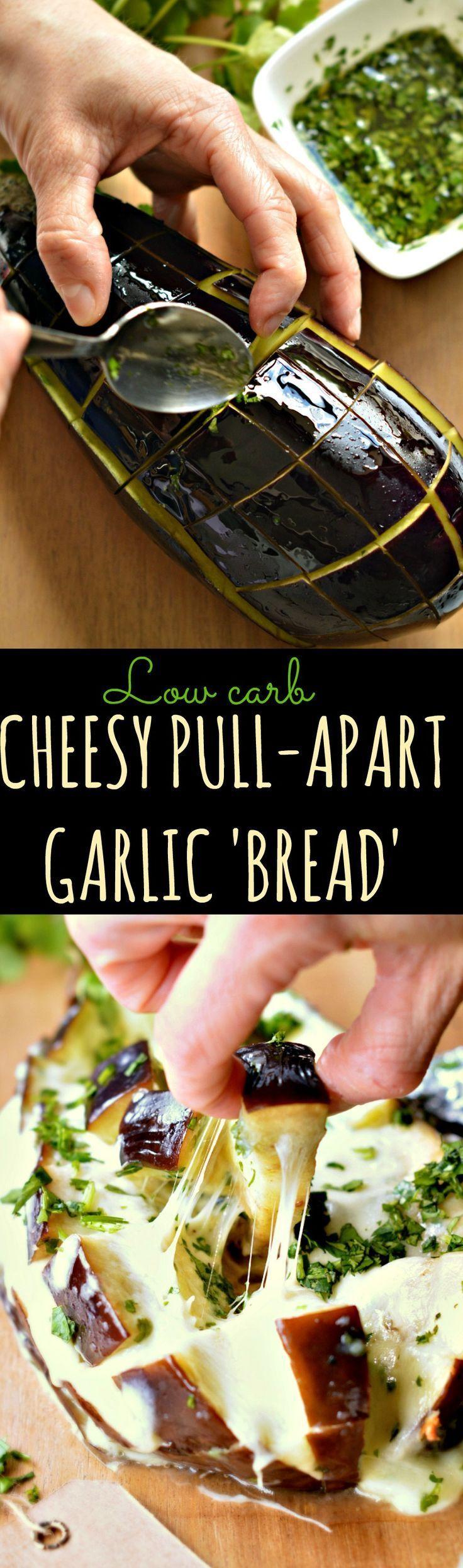 Low carb garlic Bread   Healthy pull apart garlic bread with eggplant   clean eating garlic bread alternative