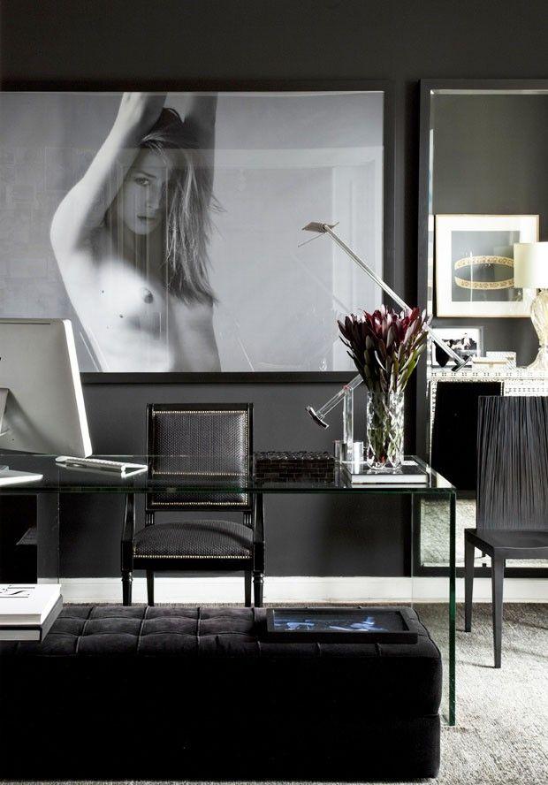 ♂ Contemporary dark interior design living room