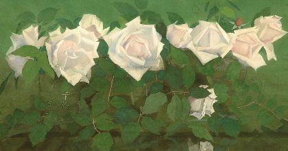 Jan Voerman sr.  'La France'-rozen in antieke glazen, gouache op papier 31,8 x 56,9 cm., gesigneerd r.o. en te dateren ca. 1891-1899.  513119/Coll.I cv