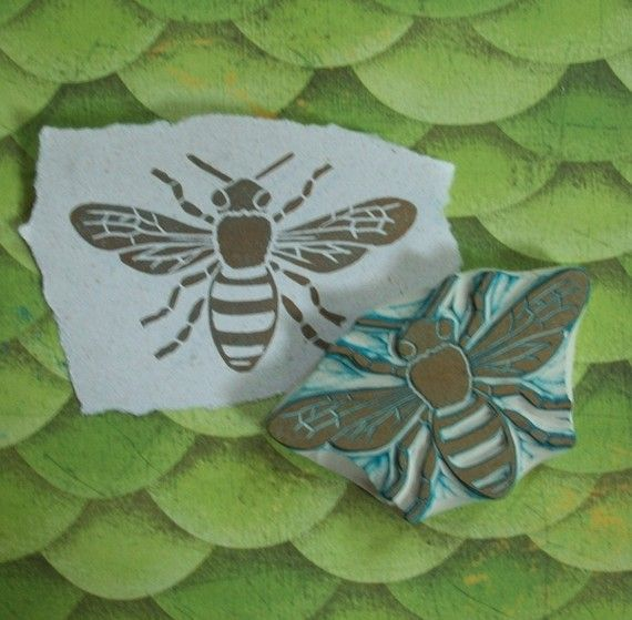 Honey Bee Rubber Stamp Hand Carved by EnchantingStamps on Etsy, $18.00