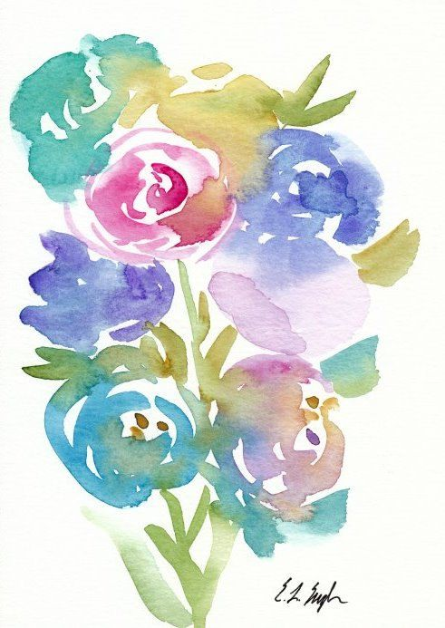 Spring Flowers Painting Original Watercolor by GrowCreativeShop