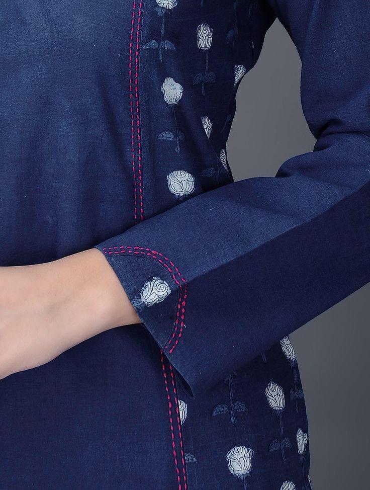 Buy Indigo White Embroidered Dabu Printed Cotton Kurta Online at Jaypore.com