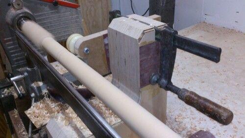 Wood lathe steady.