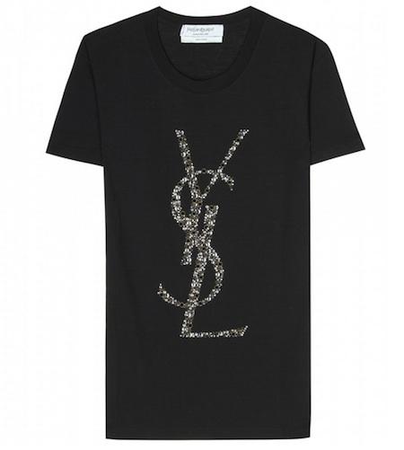 Yves Saint Laurent Crystal Embellished Logo T-Shirt MUSTHAVE ALARM!!!!