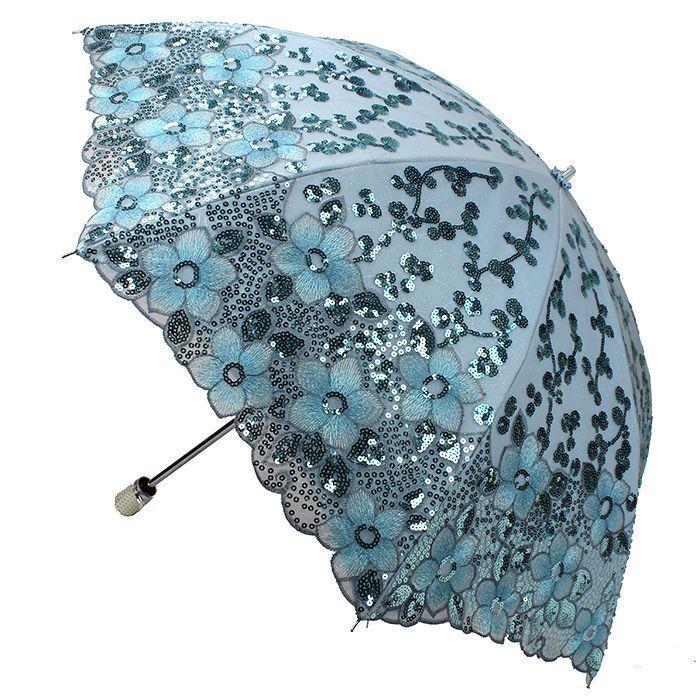 New Women Lady Embroidery Lace Sequin Flower Umbrella Anti-UV Sun Rain Parasol #ANNASParasol #Parasol