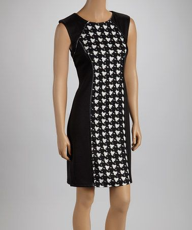 Take a look at this Cream & Black Houndstooth Sheath Dress by Shelby & Palmer on #zulily today!