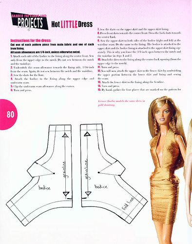 A barbie pattern for a dress.