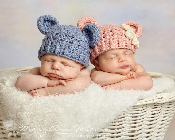 Set of two hats newborn teddy bear hat baby blue twin hats pink hat cream flower great for photo props twins baby boy and girl