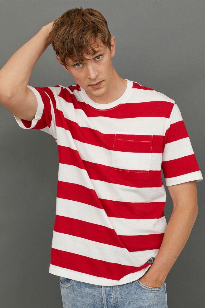 red white striped t shirt mens