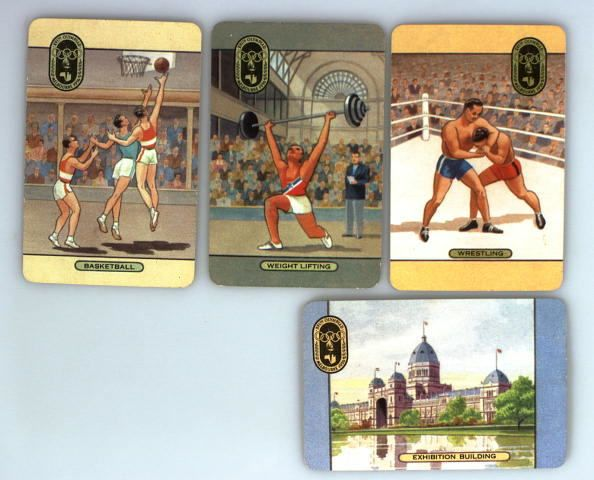 Four coloured swap cards depicting Olympic events held at the Exhibition Building, 1956. The (Royal) Exhibition Building, Carlton Gardens, was the venue for weight lifting, wrestling, basketball, fencing and modern pentathlon events during the 1956 Melbourne Olympic Games. A special annexe was erected to serve as a basketball stadium; this was demolished in 1972. Other events were held under the  ...