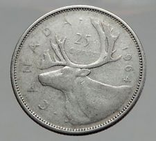 1964 CANADA United Kingdom Queen Elizabeth II Silver 25 Cent Coin CARIBOU i62917 http://lukebadcoe.blogspot.com/2017/09/1964-canada-united-kingdom-queen_85.html