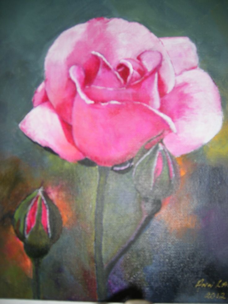 Pink rose in acrylic.