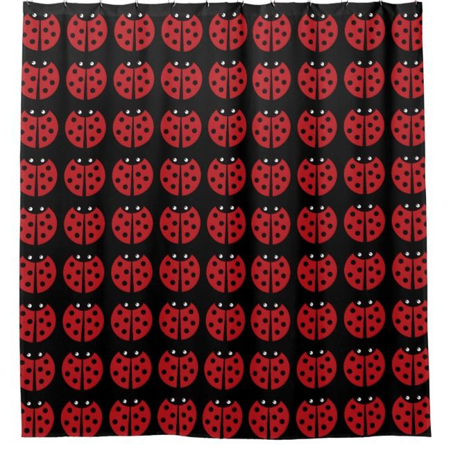 Black And Red Ladybug Shower Curtain Zazzle Com Personalized Shower Curtain Black And Red Ladybug
