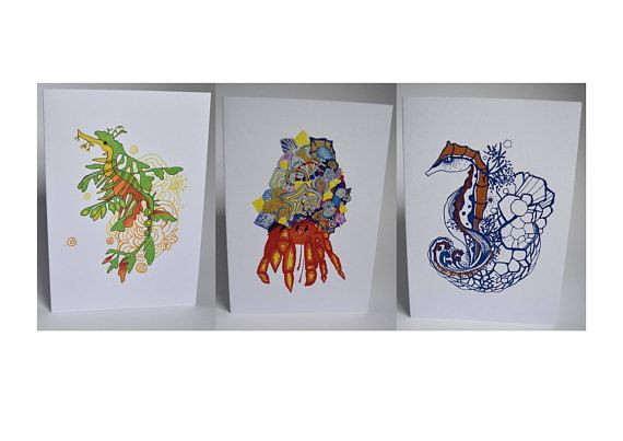 Set of 3 A6 Greeting Cards: Seahorse Leafy Sea Dragon Crab. MelanieReevesArt Etsy