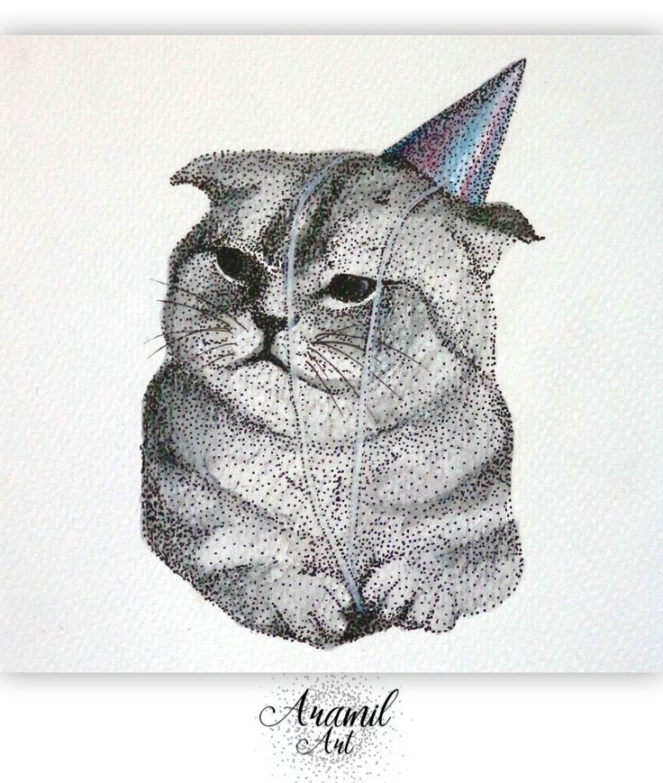 New year cat drawing, created by using about a thousand dots and colored with watercolour pencil. Art by Petra Jánosi. Come and check on FB. :) www.facebook.com/aramilart