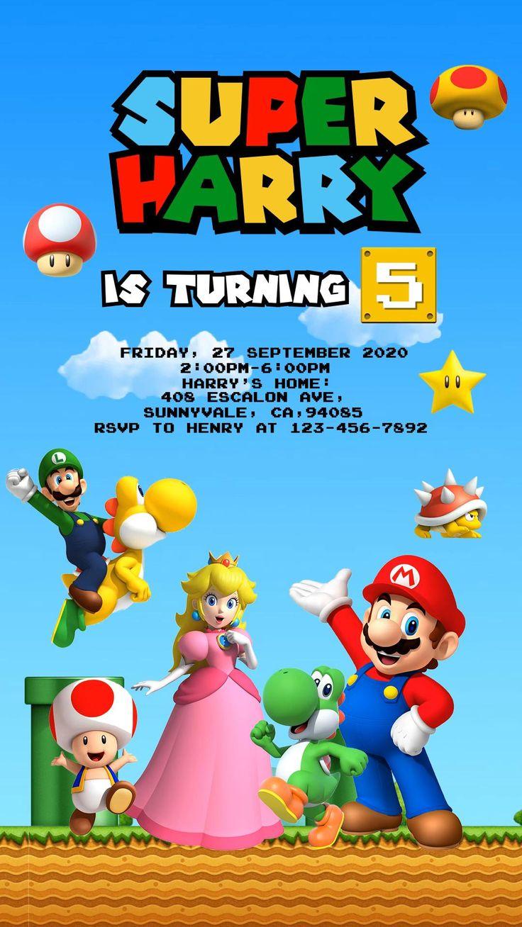 Super Mario Birthday Invitation, Super Mario Party Invite